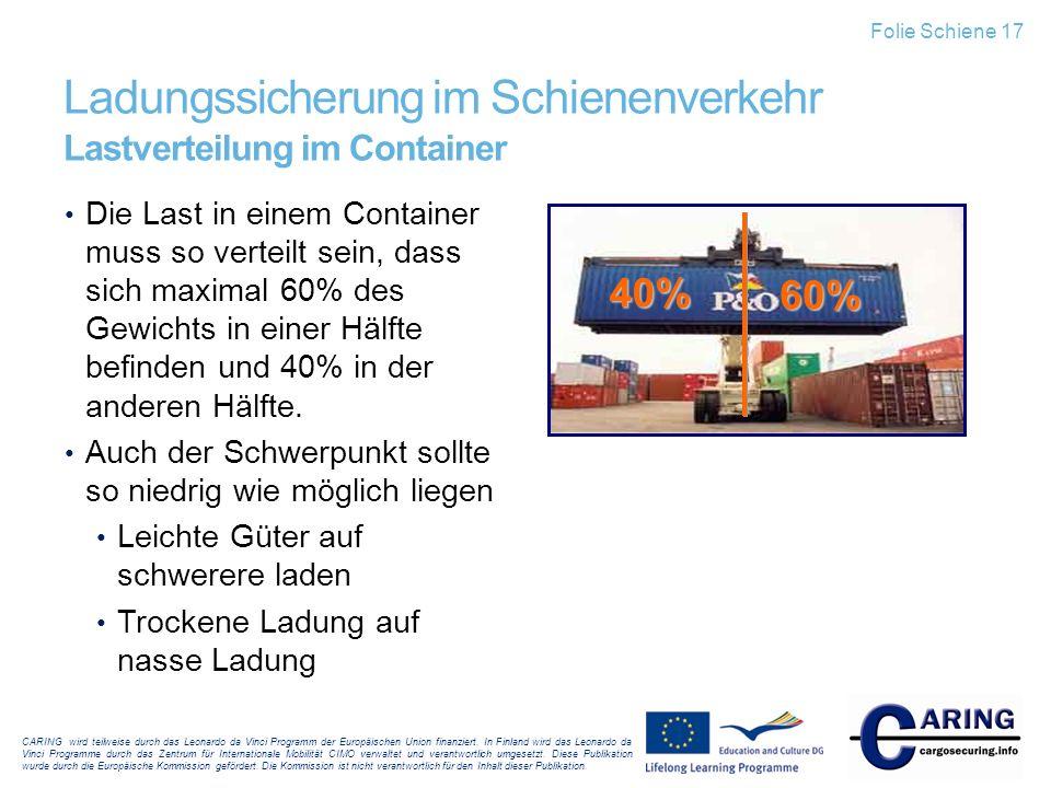 Ladungssicherung im Schienenverkehr Lastverteilung im Container
