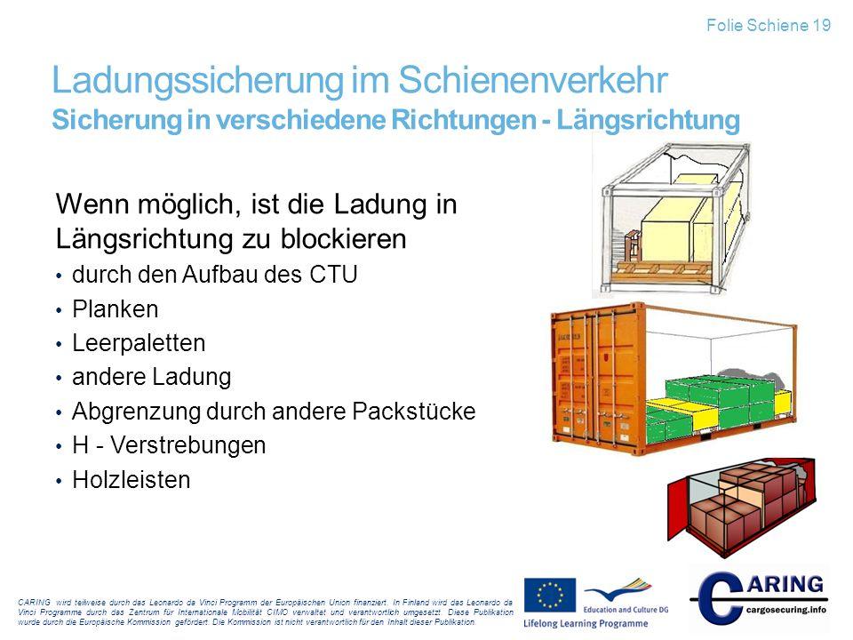 Folie Schiene 19 Ladungssicherung im Schienenverkehr Sicherung in verschiedene Richtungen - Längsrichtung.
