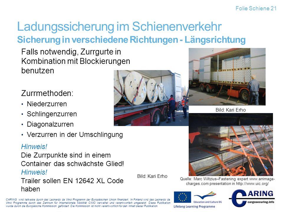 Folie Schiene 21 Ladungssicherung im Schienenverkehr Sicherung in verschiedene Richtungen - Längsrichtung.