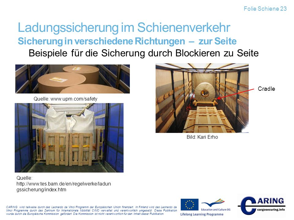Folie Schiene 23 Ladungssicherung im Schienenverkehr Sicherung in verschiedene Richtungen – zur Seite.