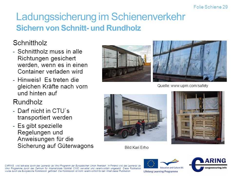 Ladungssicherung im Schienenverkehr Sichern von Schnitt- und Rundholz