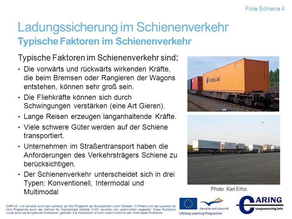 Folie Schiene 4 Ladungssicherung im Schienenverkehr Typische Faktoren im Schienenverkehr. Typische Faktoren im Schienenverkehr sind: