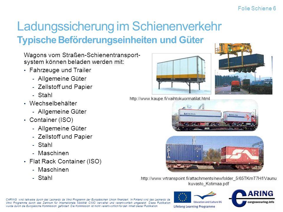 Folie Schiene 6 Ladungssicherung im Schienenverkehr Typische Beförderungseinheiten und Güter.