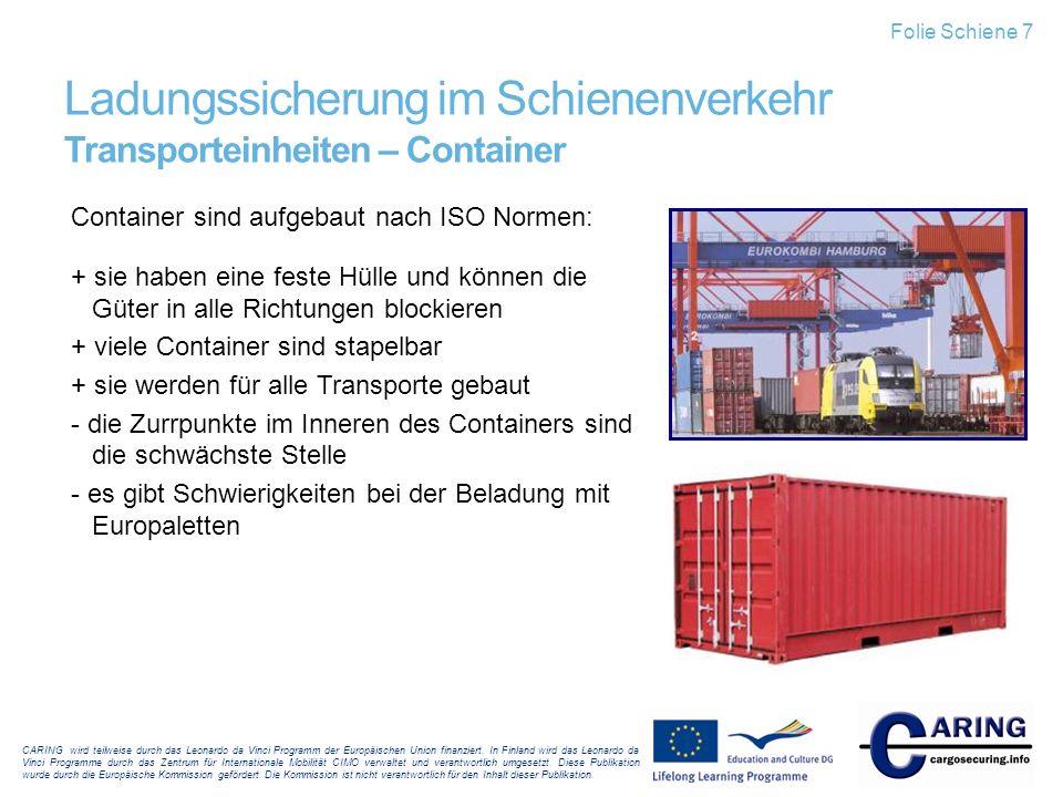 Ladungssicherung im Schienenverkehr Transporteinheiten – Container