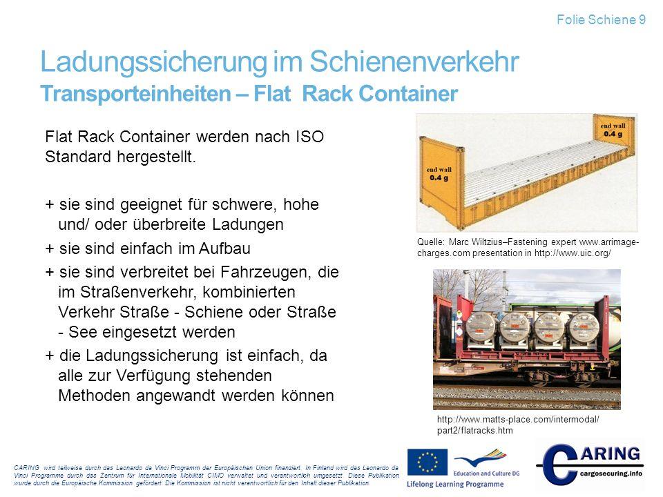Folie Schiene 9 Ladungssicherung im Schienenverkehr Transporteinheiten – Flat Rack Container.