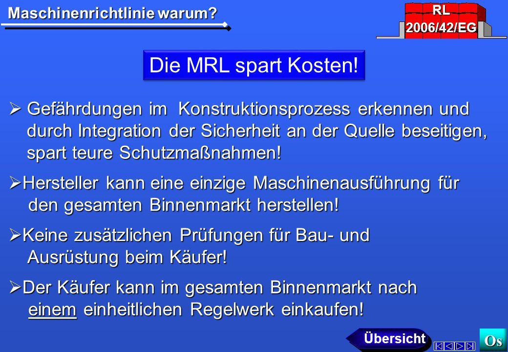 RL 2006/42/EG. Die MRL spart Kosten!
