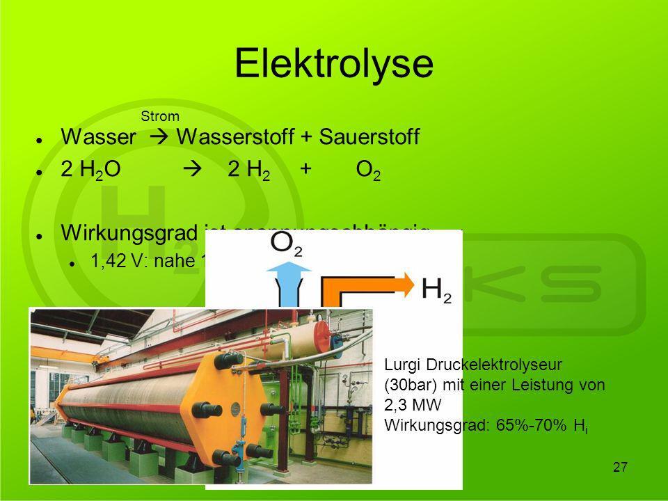 Elektrolyse Wasser  Wasserstoff + Sauerstoff 2 H2O  2 H2 + O2
