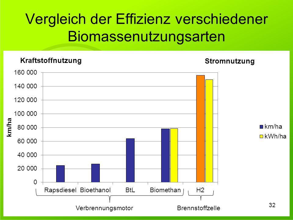 Vergleich der Effizienz verschiedener Biomassenutzungsarten