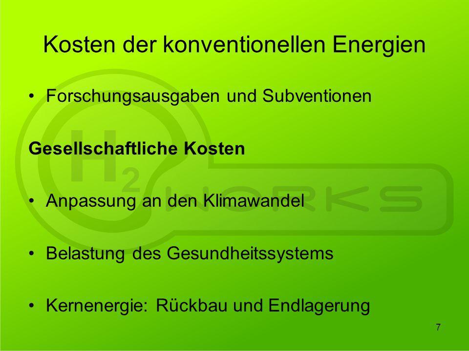 Kosten der konventionellen Energien