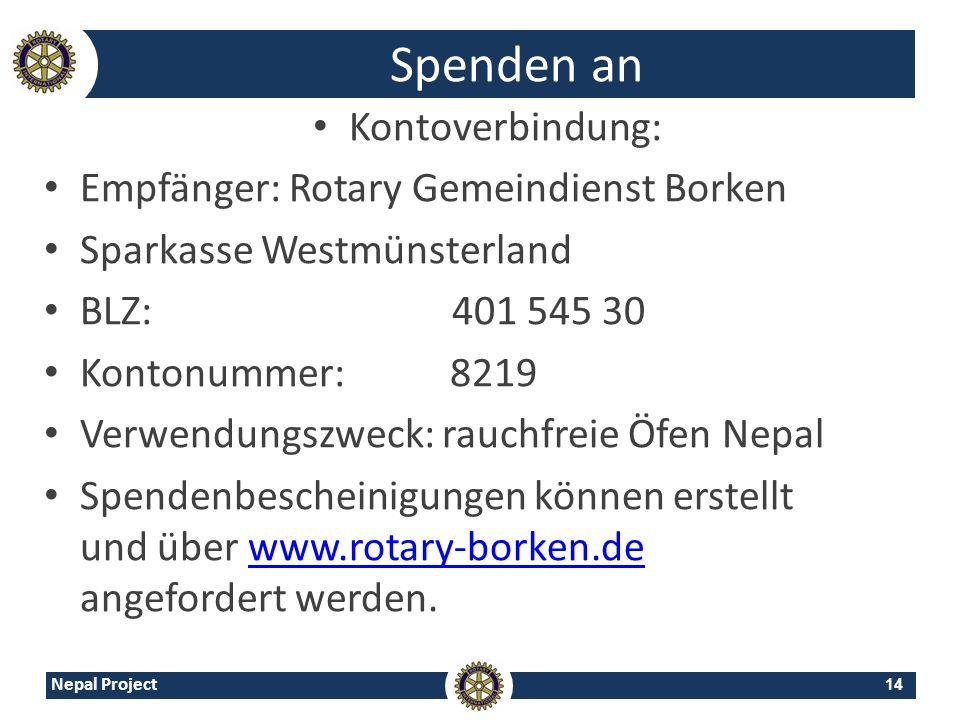 Spenden an Kontoverbindung: Empfänger: Rotary Gemeindienst Borken