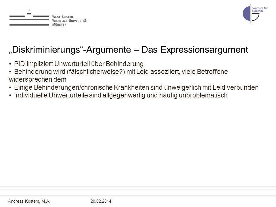 """""""Diskriminierungs -Argumente – Das Expressionsargument"""
