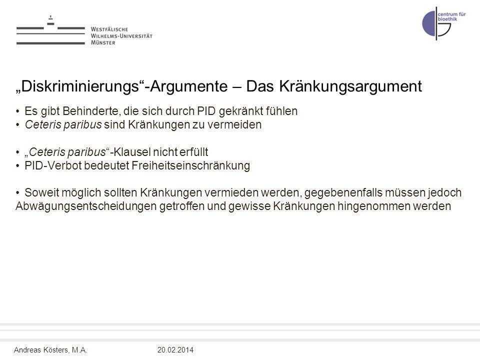 """""""Diskriminierungs -Argumente – Das Kränkungsargument"""