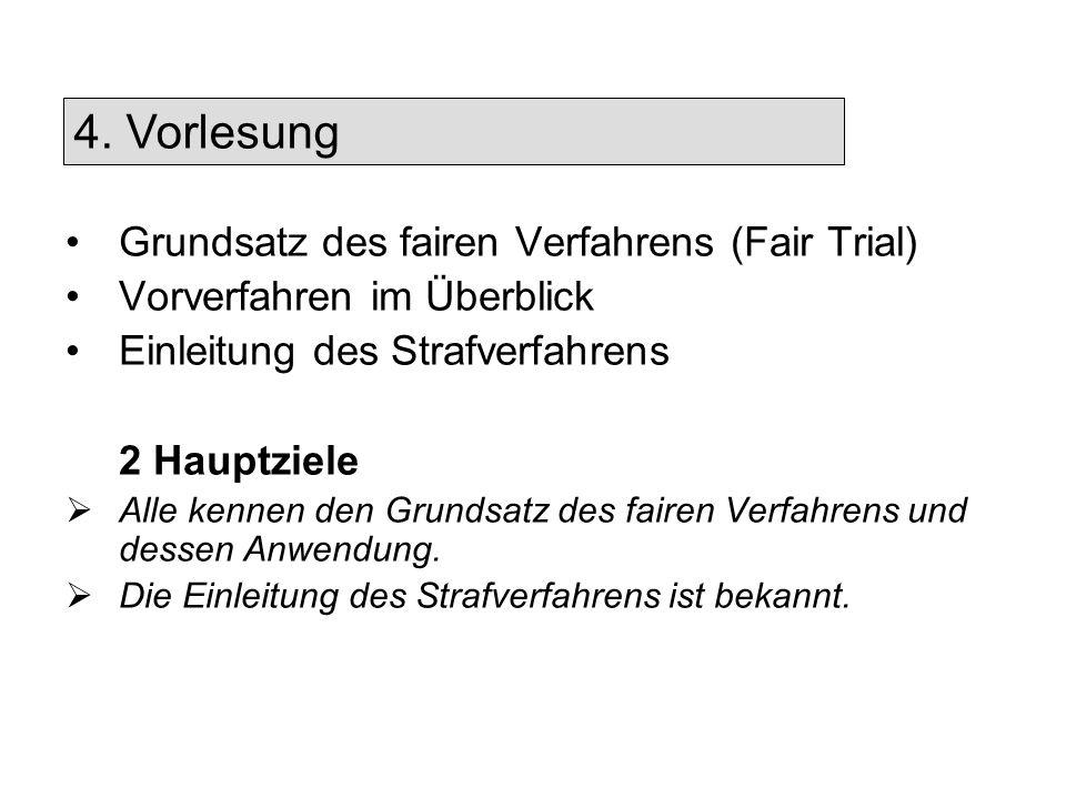 4. Vorlesung Grundsatz des fairen Verfahrens (Fair Trial)