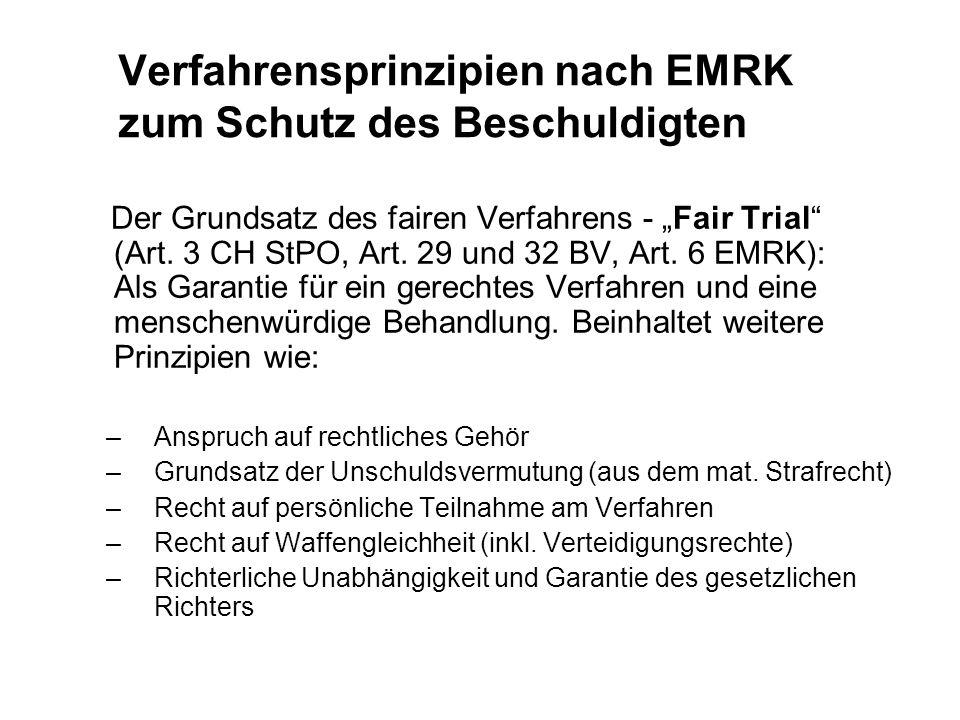 Verfahrensprinzipien nach EMRK zum Schutz des Beschuldigten