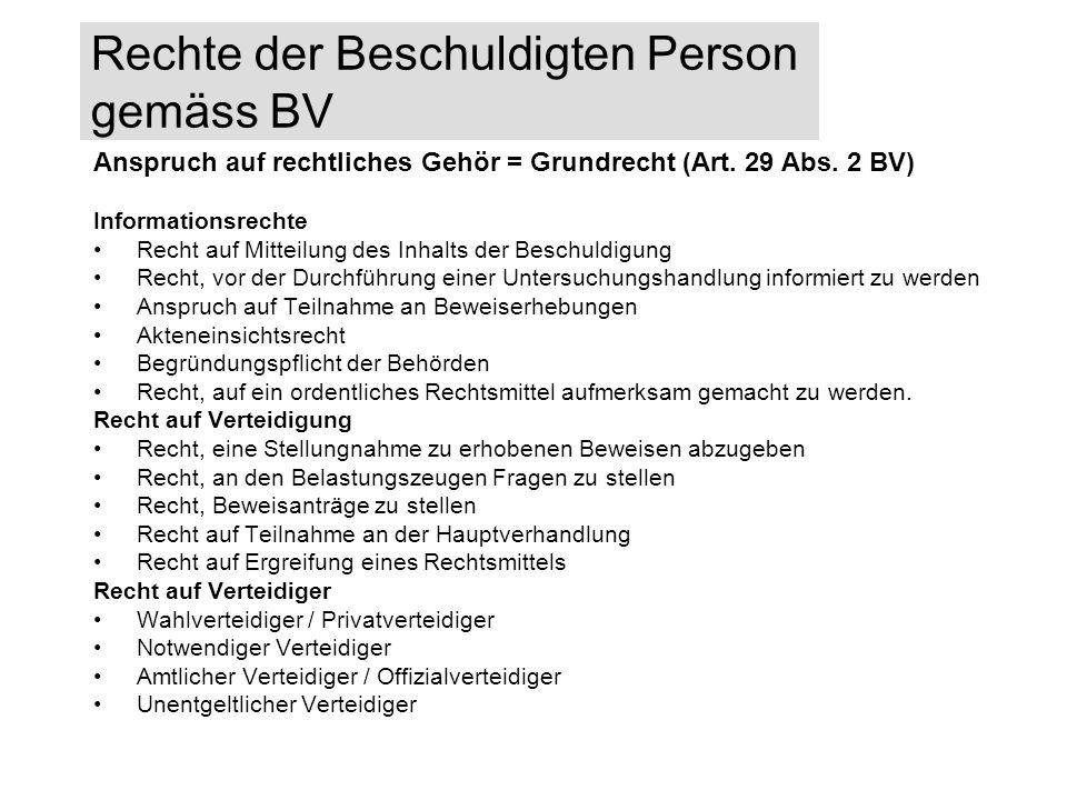 Rechte der Beschuldigten Person gemäss BV