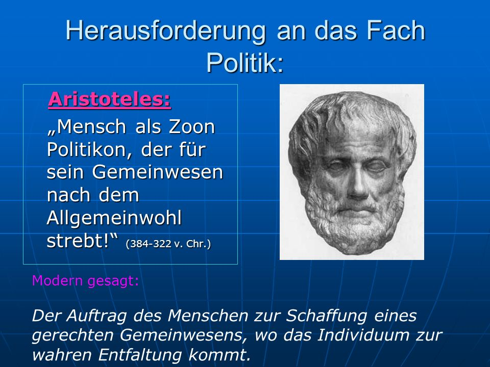 Herausforderung an das Fach Politik: