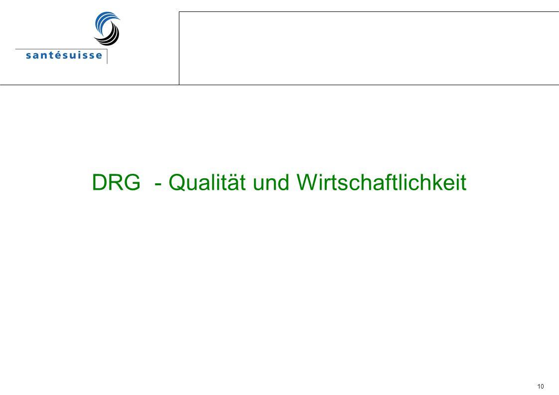 DRG - Qualität und Wirtschaftlichkeit