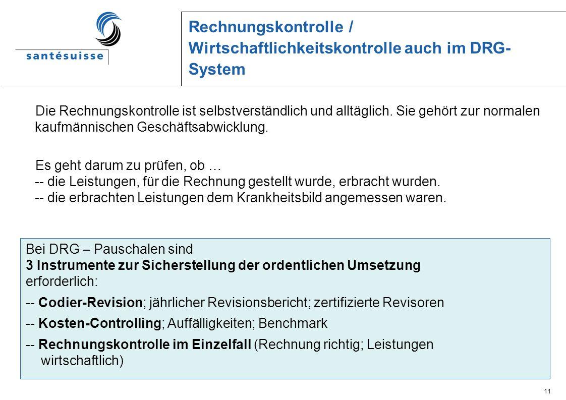 Rechnungskontrolle / Wirtschaftlichkeitskontrolle auch im DRG-System