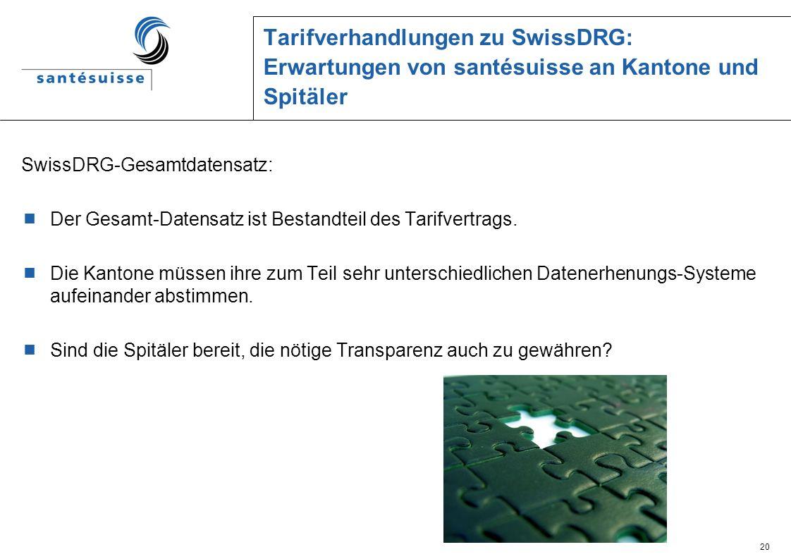Tarifverhandlungen zu SwissDRG: Erwartungen von santésuisse an Kantone und Spitäler