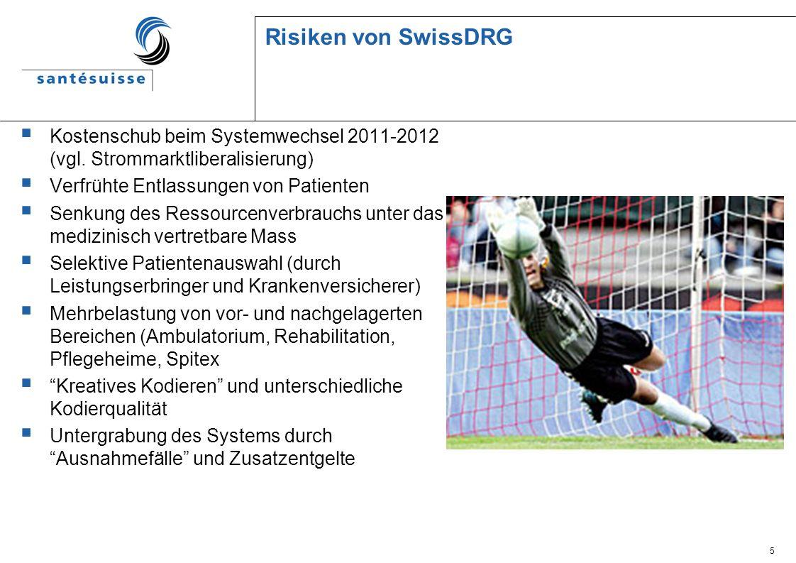 Risiken von SwissDRG Kostenschub beim Systemwechsel 2011-2012 (vgl. Strommarktliberalisierung) Verfrühte Entlassungen von Patienten.
