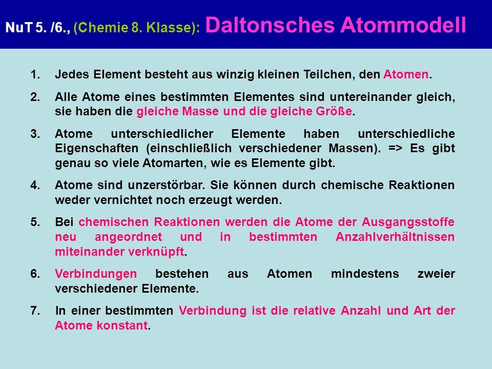 NuT 5. /6., (Chemie 8. Klasse): Daltonsches Atommodell