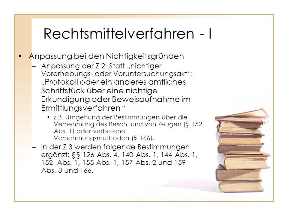 Rechtsmittelverfahren - I