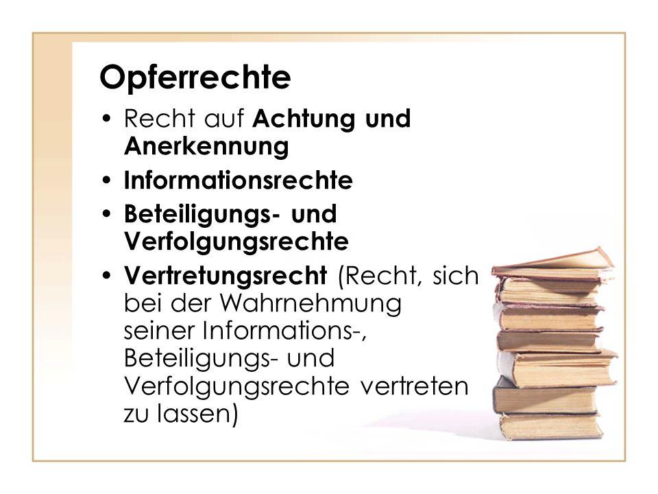 Opferrechte Recht auf Achtung und Anerkennung Informationsrechte