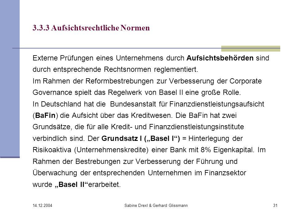 3.3.3 Aufsichtsrechtliche Normen