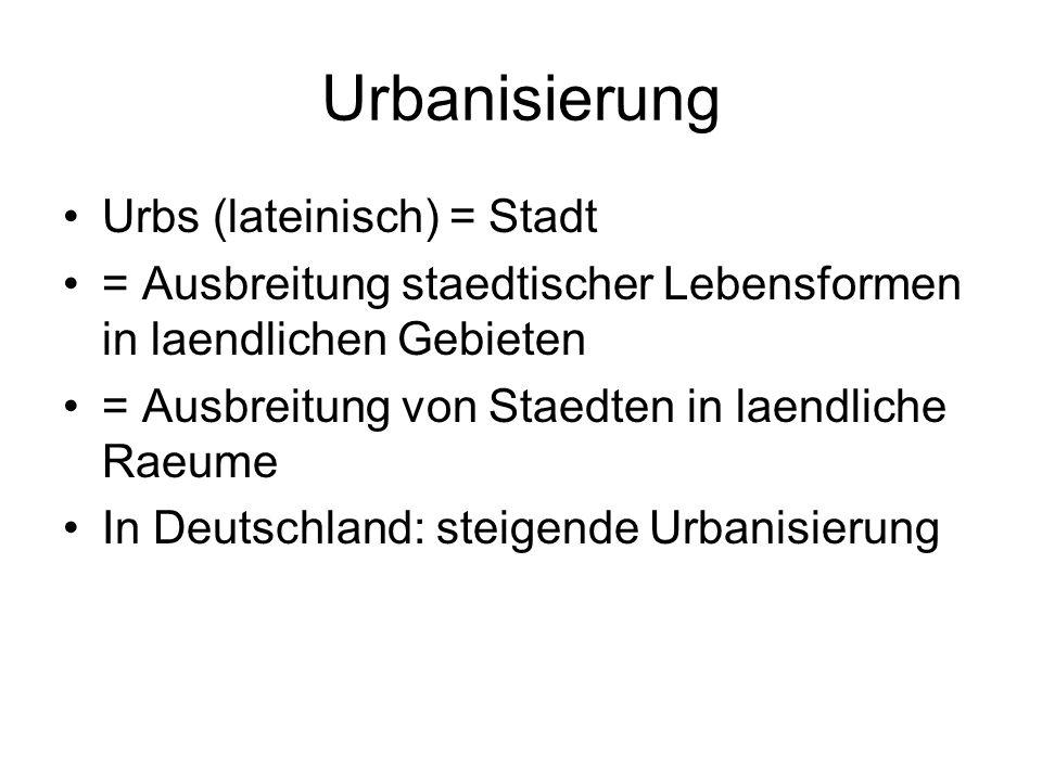 Urbanisierung Urbs (lateinisch) = Stadt