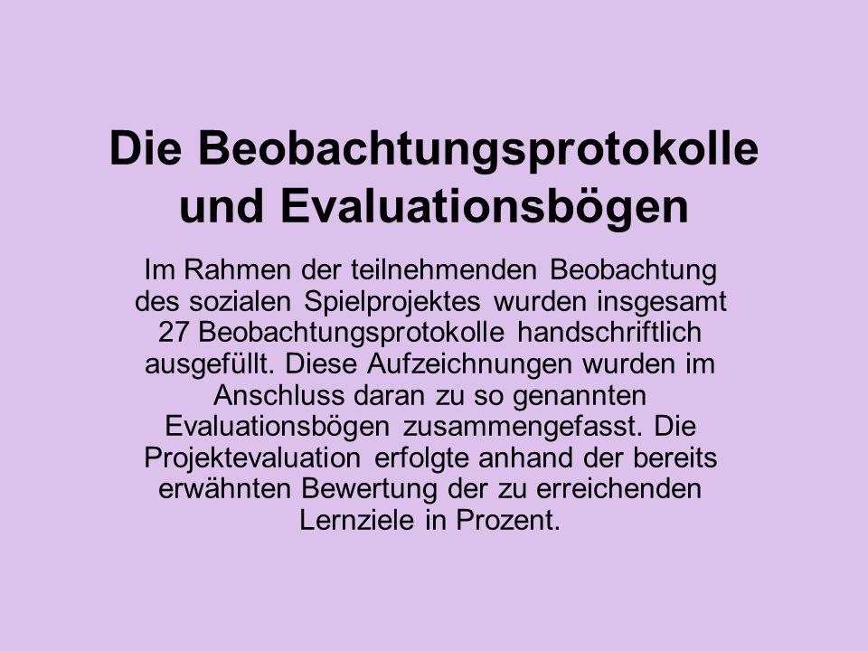 Die Beobachtungsprotokolle und Evaluationsbögen