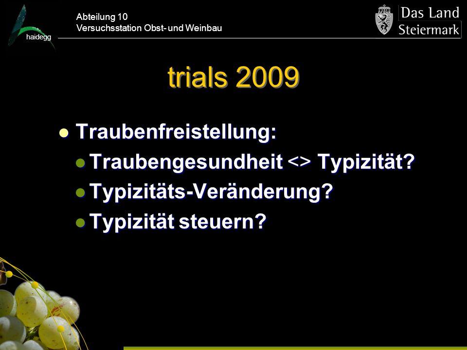 trials 2009 Traubenfreistellung: Traubengesundheit <> Typizität