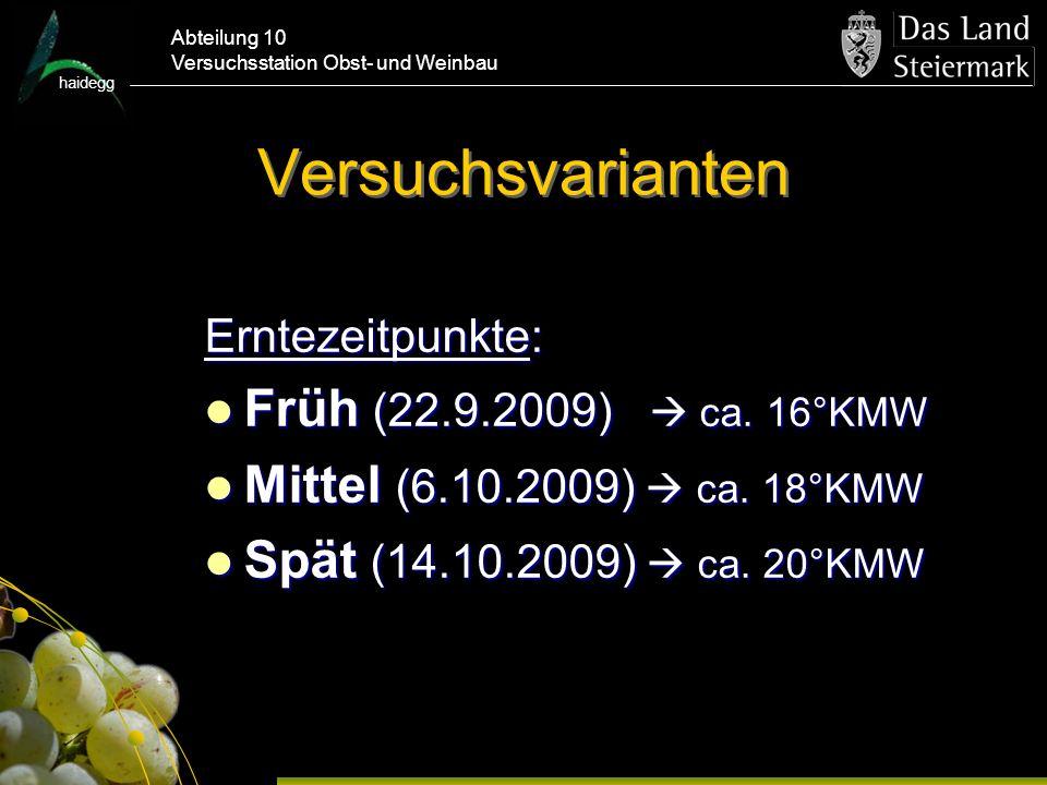 Versuchsvarianten Früh (22.9.2009)  ca. 16°KMW