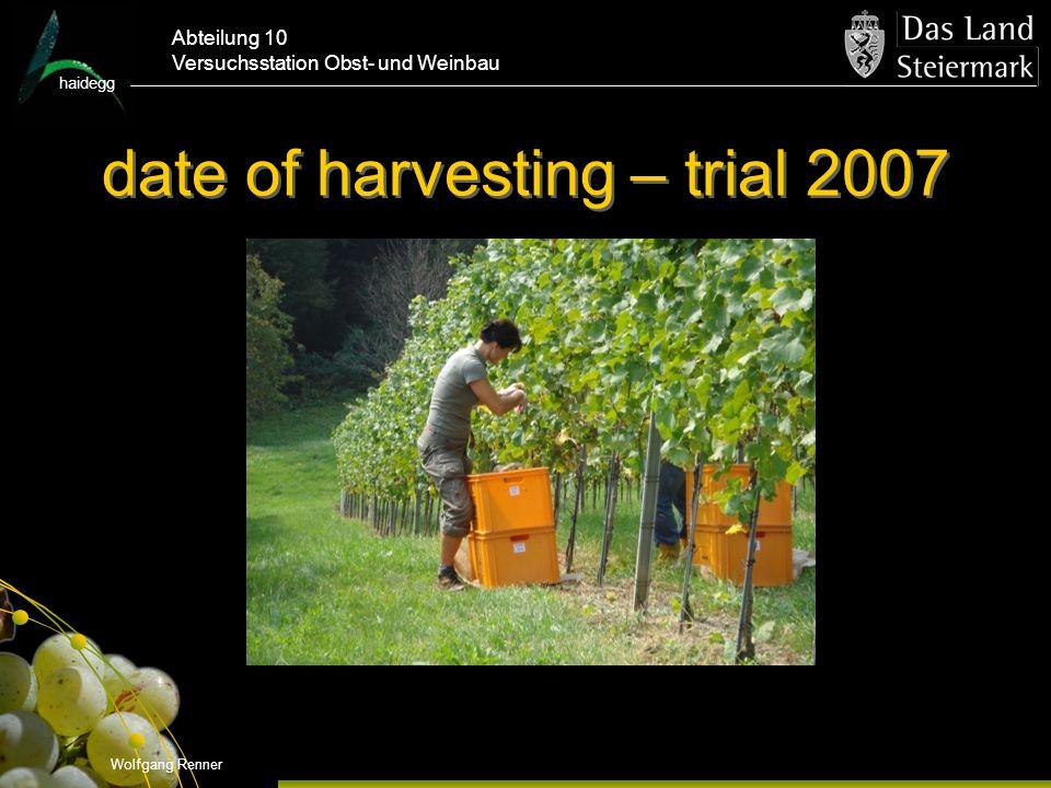 date of harvesting – trial 2007