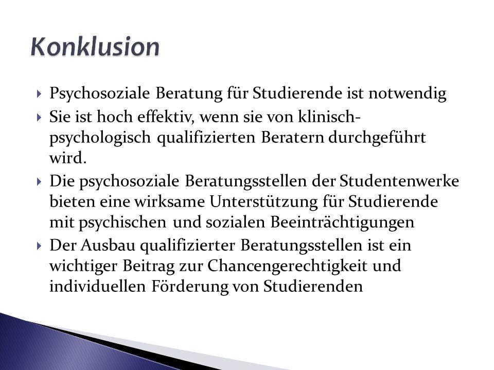 Konklusion Psychosoziale Beratung für Studierende ist notwendig
