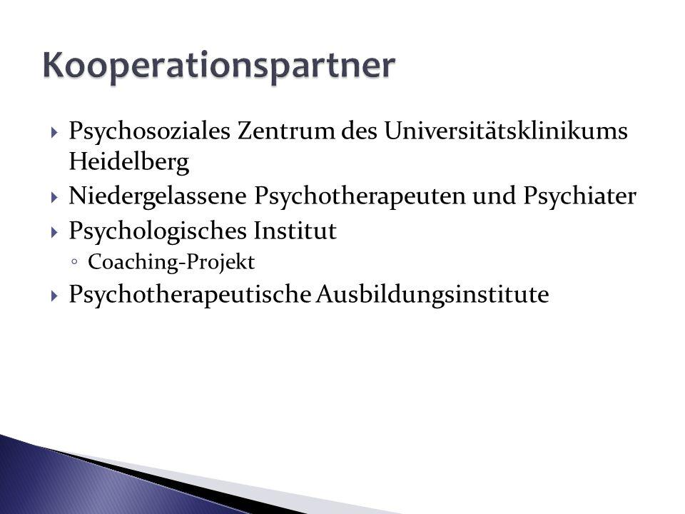 Kooperationspartner Psychosoziales Zentrum des Universitätsklinikums Heidelberg. Niedergelassene Psychotherapeuten und Psychiater.