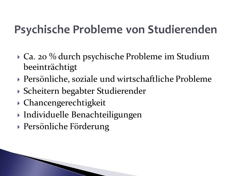 Psychische Probleme von Studierenden