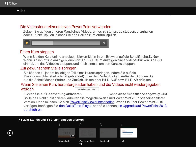 Hilfe Hilfe Die Videosteuerelemente von PowerPoint verwenden