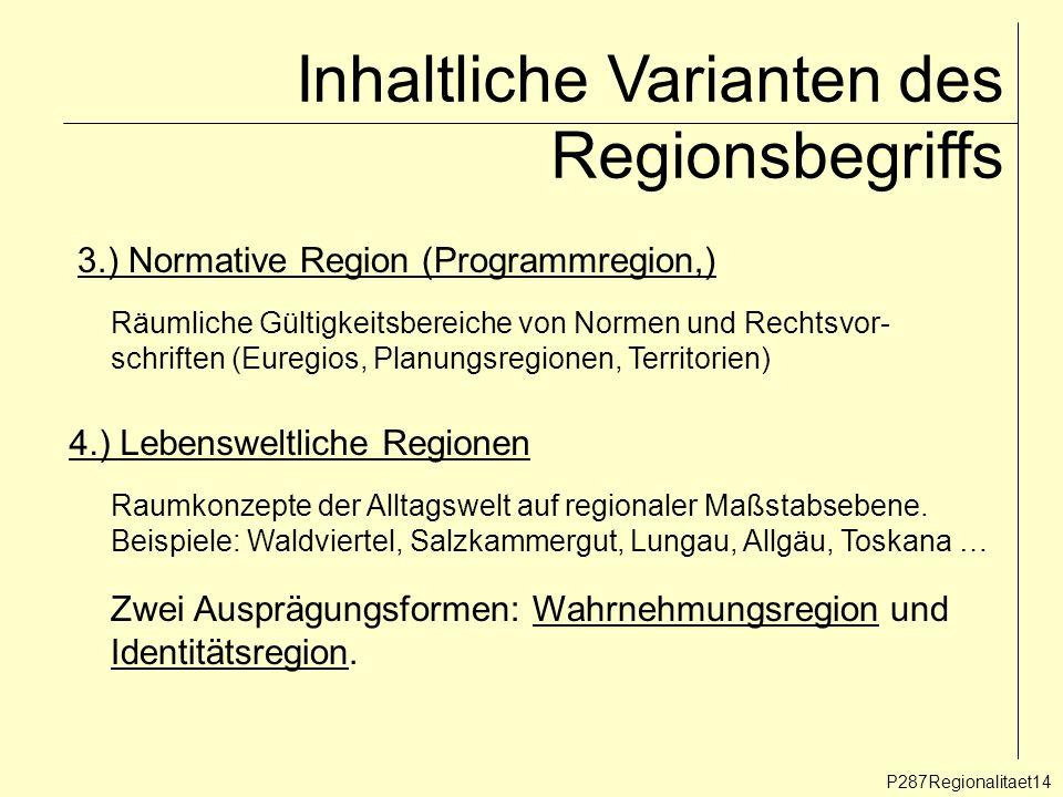 Inhaltliche Varianten des Regionsbegriffs