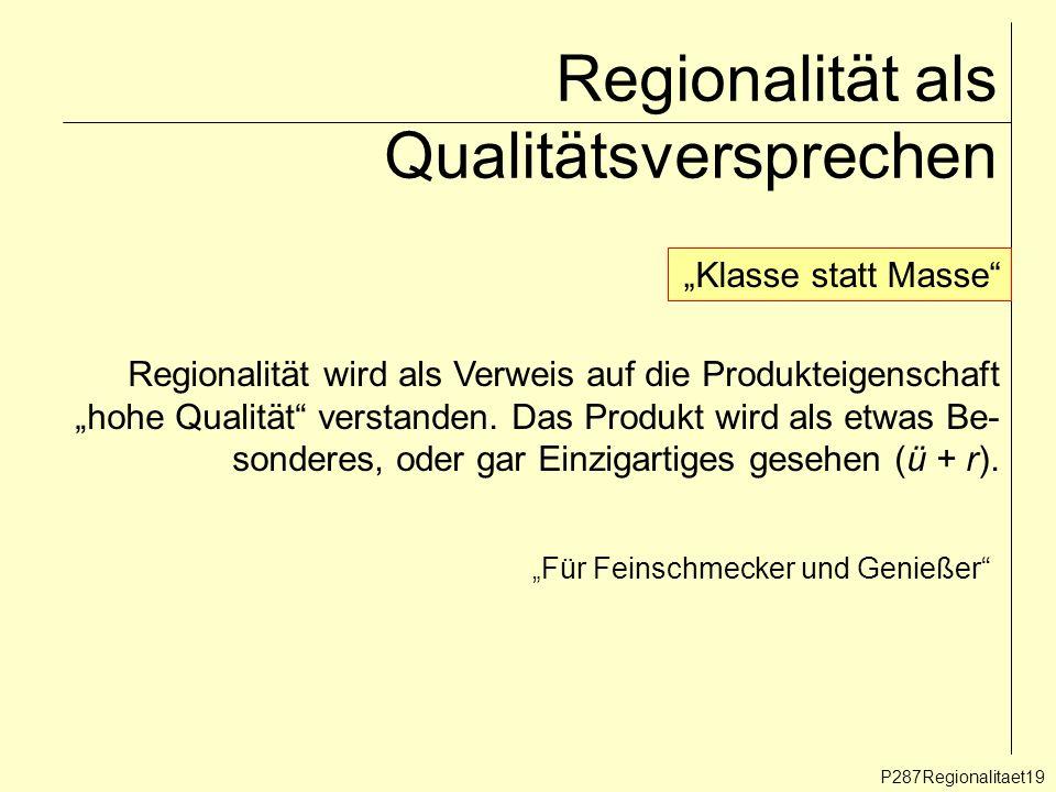 Regionalität als Qualitätsversprechen