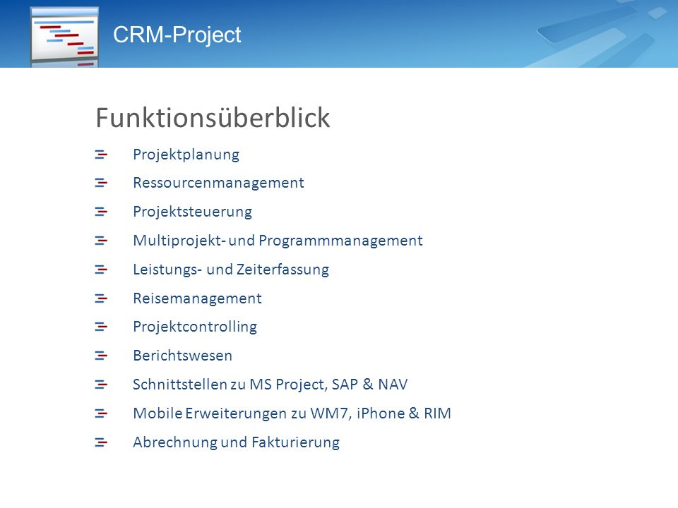 Funktionsüberblick CRM-Project Projektplanung Ressourcenmanagement