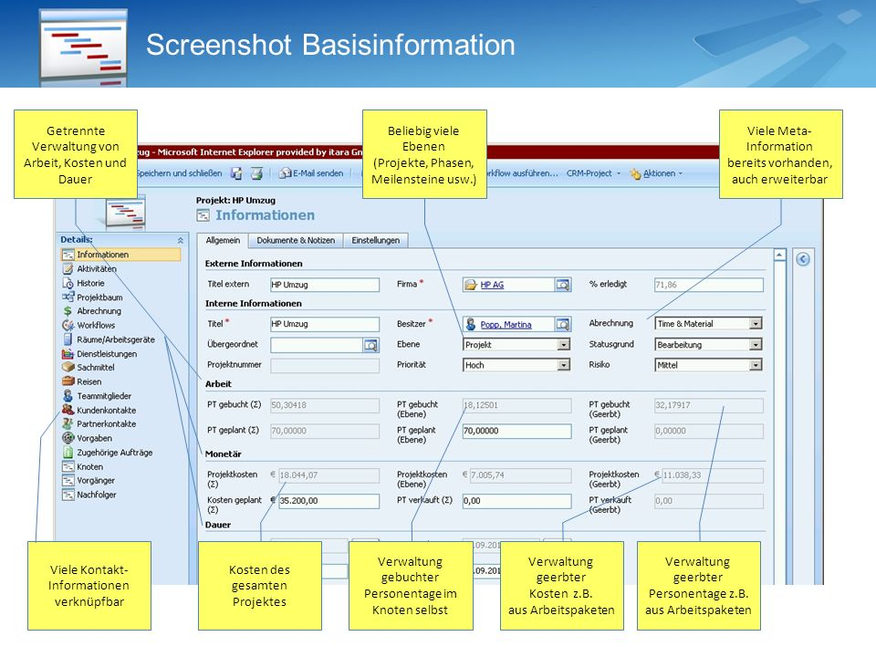 Screenshot Basisinformation