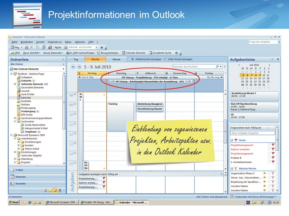 Projektinformationen im Outlook