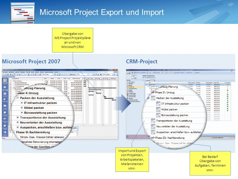 Microsoft Project Export und Import