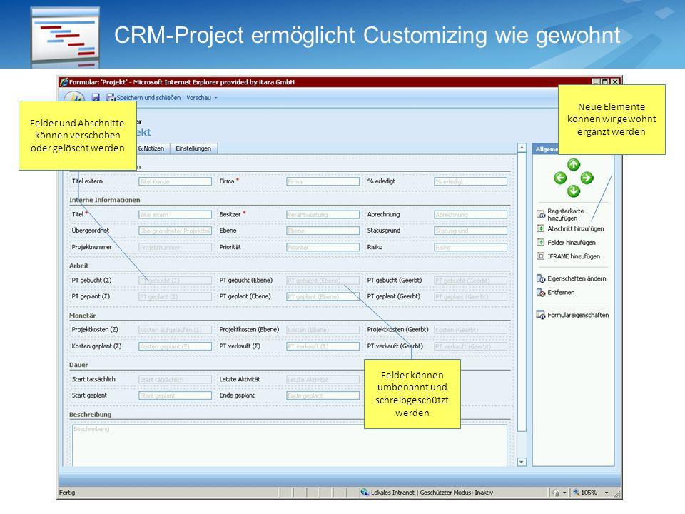 CRM-Project ermöglicht Customizing wie gewohnt