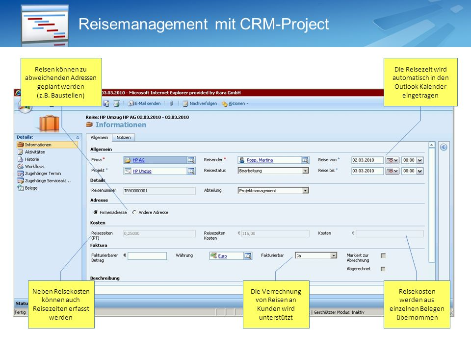 Reisemanagement mit CRM-Project