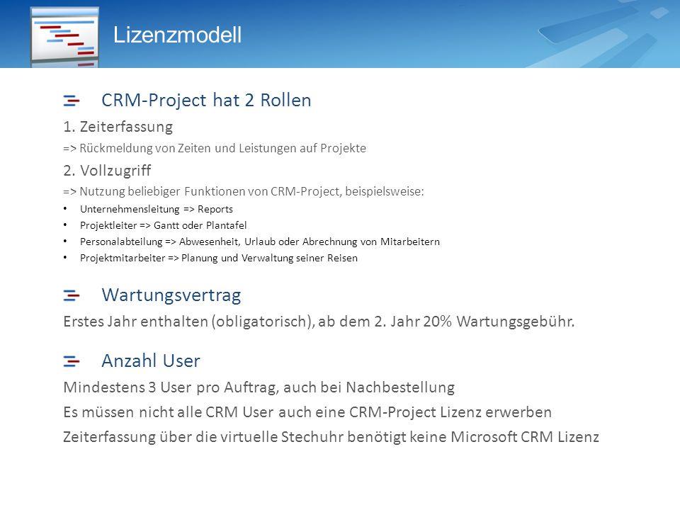 Lizenzmodell CRM-Project hat 2 Rollen Wartungsvertrag Anzahl User