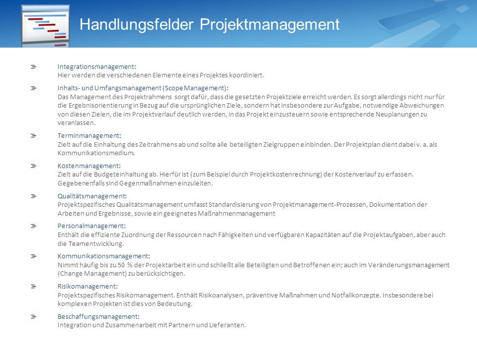 Handlungsfelder Projektmanagement