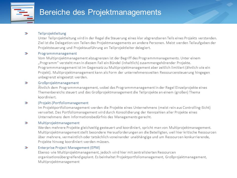 Bereiche des Projektmanagements