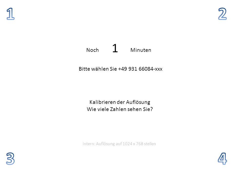 1 2 3 4 5 4 3 2 1 Noch Minuten Bitte wählen Sie +49 931 66084-xxx