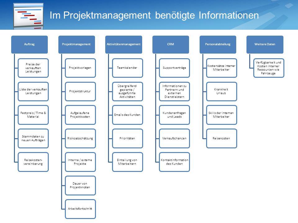 Im Projektmanagement benötigte Informationen
